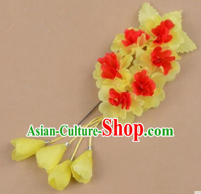 Top Grade Chinese Ancient Peking Opera Hair Accessories Diva Crystal Temple Light Yellow Jasmine Flowers Hairpins, Traditional Chinese Beijing Opera Hua Tan Hair Clasp Head-ornaments