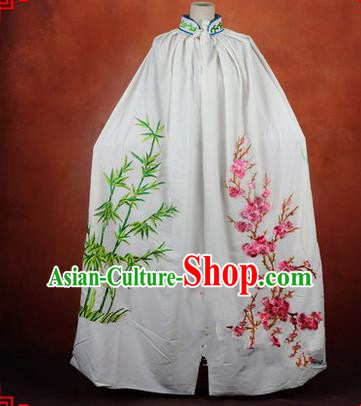 Traditional Chinese Beijing Opera Shaoxing Opera Young Lady Clothing White Cloak, China Peking Opera Diva Role Hua Tan Costume Embroidered Plum Blossoms Orchid Bamboo and Chrysanthemum Mantle
