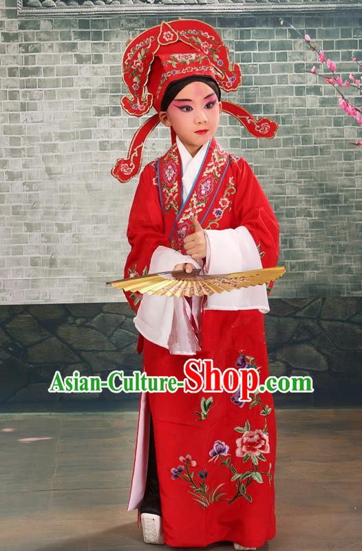 Traditional Chinese Beijing Opera Niche Red Children Clothing and Boots Complete Set, China Peking Opera Young Men Costume Embroidered Robe for Kids