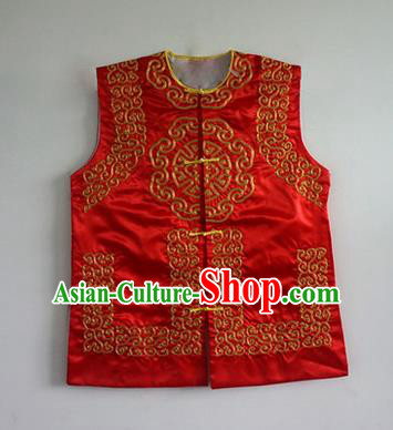 Traditional Chinese Beijing Opera Soldier Red Vests, China Peking Opera Costume Embroidered Waistcoat