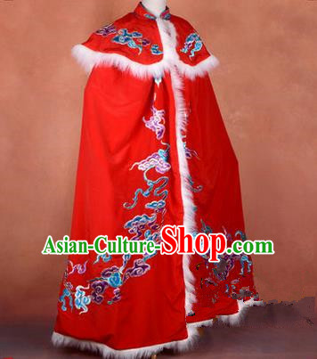 Traditional Chinese Beijing Opera Shaoxing Opera Young Lady Clothing Red Cloak, China Peking Opera Diva Role Hua Tan Costume Embroidered Mantle