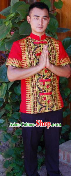 Traditional Traditional Thailand Male Clothing, Southeast Asia Thai Ancient Costumes Dai Nationality Red Shirt for Men