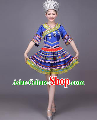 Traditional Chinese Miao Nationality Dance Costume, Hmong Female Folk Dance Ethnic Pleated Skirt, Chinese Minority Nationality Embroidery Blue Dress for Women