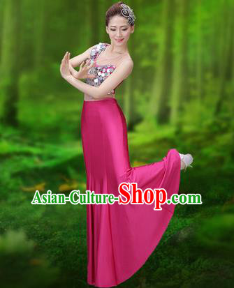Traditional Chinese Dai Nationality Peacock Dance Costume, Folk Dance Ethnic Pavane Clothing, Chinese Minority Nationality Dance Pink Dress for Women