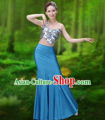 Traditional Chinese Dai Nationality Peacock Dance Costume, Folk Dance Ethnic Pavane Clothing, Chinese Minority Nationality Dance Blue Dress for Women