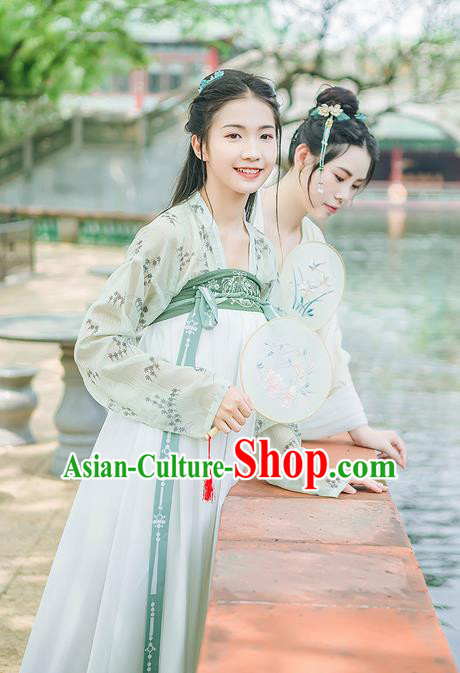 Traditional Chinese Tang Dynasty Young Lady Costume, Elegant Hanfu Clothing Embroidered Blouse and Green Skirts, Chinese Ancient Princess Dress for Women