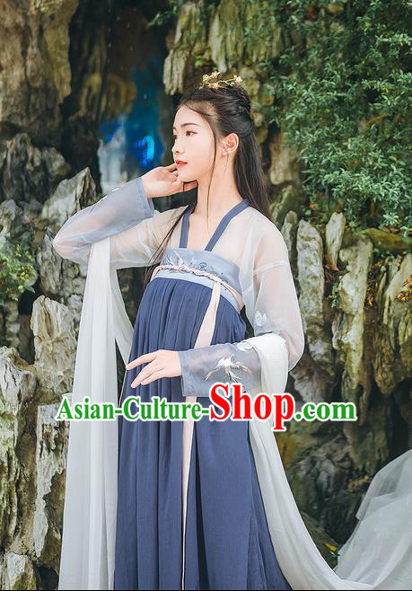 Traditional Chinese Tang Dynasty Palace Princess Costume Complete Set, Elegant Hanfu Clothing Embroidered Cardigan and Dress, Chinese Ancient Princess Clothing for Women