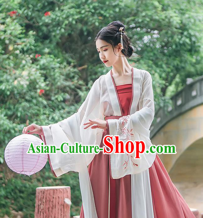 Traditional Chinese Tang Dynasty Palace Princess Costume Complete Set, Elegant Hanfu Clothing Embroidered Wide Sleeve Cardigan and Dress, Chinese Ancient Princess Clothing for Women