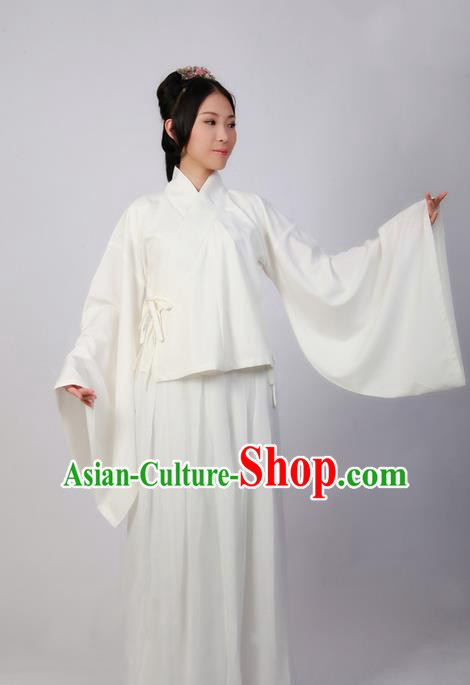 Traditional Chinese Han Dynasty Palace Princess Costume Underwear, Elegant Hanfu Clothing Wide Sleeve Pajamas for Women