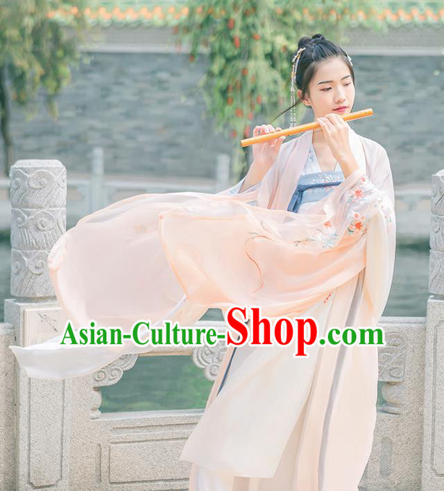 Traditional Chinese Tang Dynasty Young Lady Costume, Elegant Hanfu Clothing Embroidered Wide Sleeve Pink Cardigan, Chinese Ancient Princess Clothing for Women