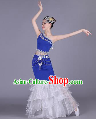 Traditional Chinese Dai Nationality Peacock Dance Costume, Folk Dance Ethnic Pavane Clothing, Chinese Minority Nationality Dance Fishtail Dress for Women