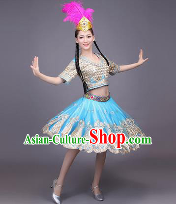 Traditional Chinese Uyghur Nationality Dancing Costume, Folk Dance Ethnic Costume, Chinese Minority Nationality Uigurian Dance Blue Short Dress for Women