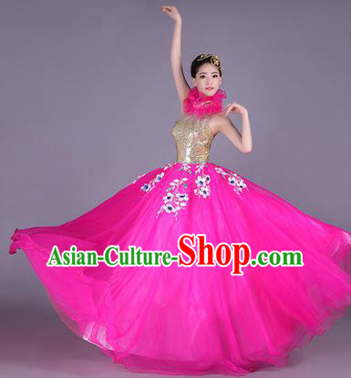 Traditional Chinese Modern Dance Performance Costume, China Opening Dance Clothing, Classical Dance Pink Bubble Dress for Women