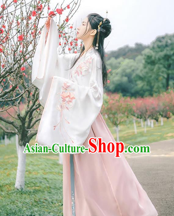 Traditional Chinese Han Dynasty Imperial Princess Costume, Elegant Hanfu Clothing Blouse and Skirts, Chinese Ancient Young Lady Embroidered Dress for Women