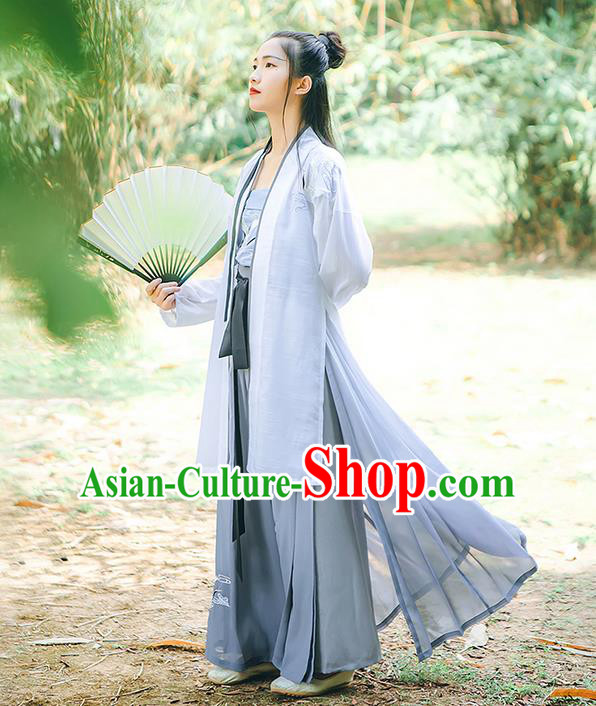 Traditional Chinese Song Dynasty Young Lady Embroidery Costume, Elegant Hanfu Clothing Blouse and Pants Suspenders Complete Set, Chinese Ancient Dress for Women
