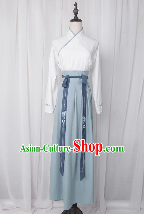 Traditional Chinese Han Dynasty Palace Princess Costume Blouse and Dress Complete Set, Elegant Hanfu Clothing Embroidered Fish Dress, Chinese Ancient Princess Clothing for Women