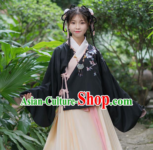Traditional Chinese Han Dynasty Young Lady Costume, Elegant Hanfu Clothing Embroidered Blouse, Chinese Ancient Princess Clothing for Women