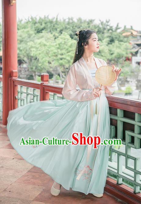Traditional Chinese Tang Dynasty Palace Princess Costume Blouse Boob Tube Top and Dress Complete Set, Elegant Hanfu Clothing Embroidered Dress, Chinese Ancient Princess Clothing for Women