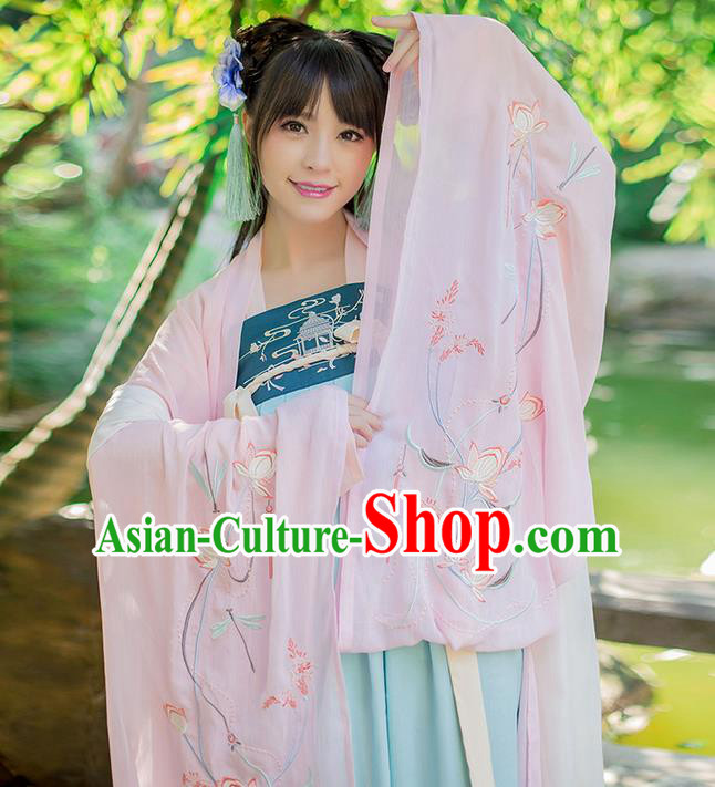 Traditional Chinese Tang Dynasty Palace Princess Costume, Elegant Hanfu Clothing Embroidered Chiffon Pink Wide Sleeve Cardigan, Chinese Ancient Princess Clothing for Women