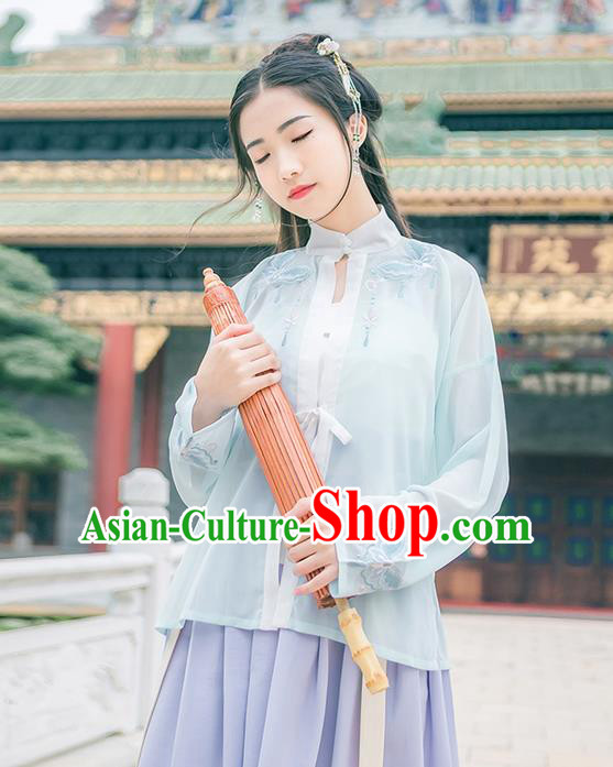 Traditional Chinese Tang Dynasty Palace Princess Costume, Elegant Hanfu Clothing Embroidered Blouse, Chinese Ancient Princess Clothing for Women