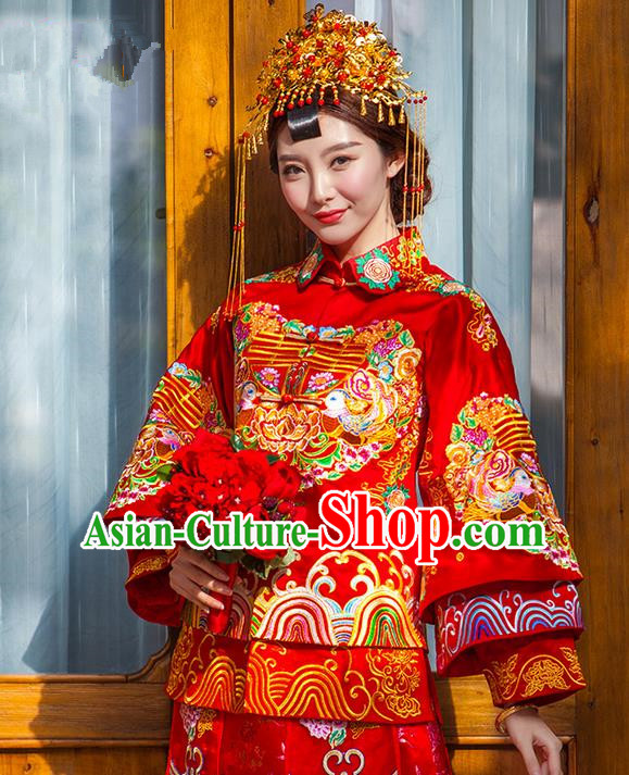 Traditional Chinese Wedding Costume Xiuhe Suits Wedding Bride Dress, Ancient Chinese Toast Dress Embroidered Dragon and Phoenix Clothing Longfeng Flown for Women