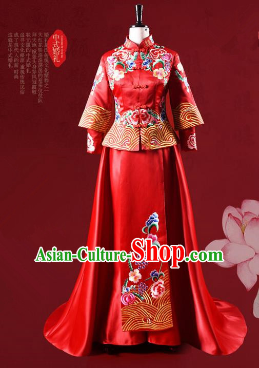 Traditional Chinese Wedding Costume XiuHe Suit Clothing Dragon and Phoenix Flown Bottom Drawer, Ancient Chinese Bride Embroidered Peony Cheongsam Trailing Dress for Women