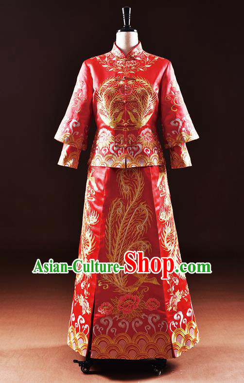 Traditional Chinese Wedding Costume XiuHe Suit Clothing Dragon and Phoenix Flown Wedding Dress, Ancient Chinese Bride Hand Embroidered Cheongsam Dress for Women