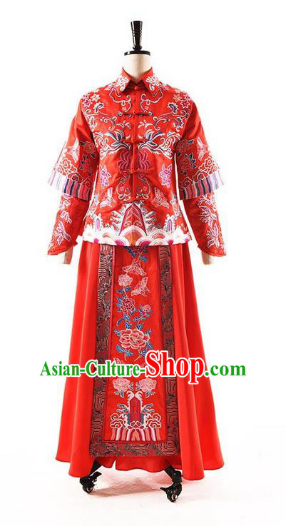 Traditional Chinese Wedding Costume XiuHe Suit Clothing Dragon and Phoenix Flown Slim Wedding Dress, Ancient Chinese Bride Hand Embroidered Peony Cheongsam Dress for Women