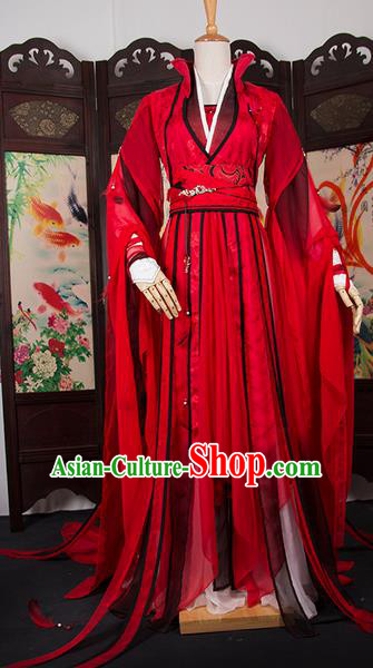 Traditional Chinese Han Dynasty Swordswoman Costume, Elegant Hanfu Cosplay Clothing Ancient Chinese Chivalrous Woman Dress