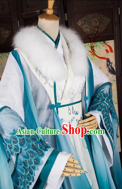 Traditional Chinese Han Dynasty Aristocratic Miss Costume, Elegant Hanfu Cosplay Peri Clothing Ancient Chinese Imperial Consort Dance Dress for Women