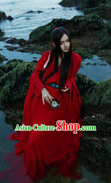 Traditional Chinese Song Dynasty Young Hero Red Costume, Chinese Ancient Hanfu Jiang Hu Swordsman Clothing for Men
