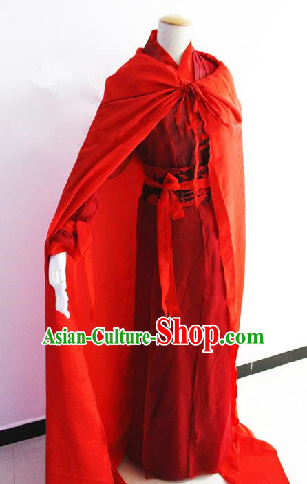 Traditional Chinese Han Dynasty Female General Costume with Cloak, Chinese Ancient Hanfu Jiang Hu Swordsman Clothing for Women