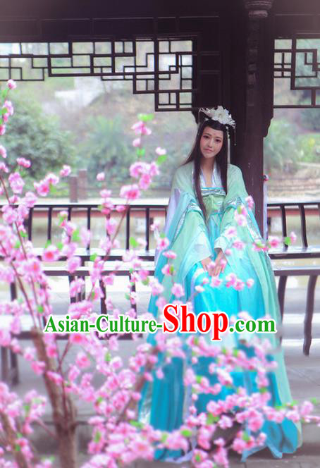 Traditional Chinese Cosplay Nobility Lady Costume, Chinese Ancient Hanfu Tang Dynasty Imperial Princess Blue Slip Dress Clothing for Women