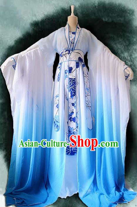 Traditional Chinese Cosplay Nobility Lady Costume, Chinese Ancient Hanfu Han Dynasty Imperial Princess Blue Lotus Dress Clothing for Women