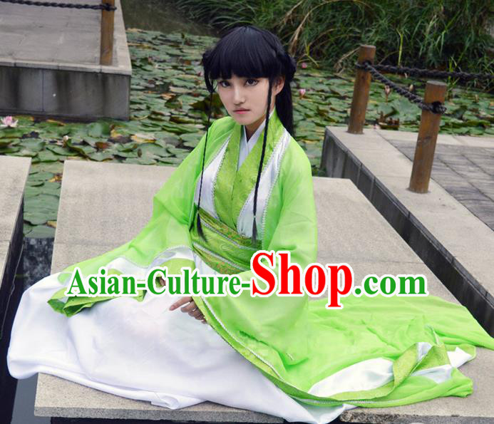 Traditional Chinese Cosplay Young Lady Costume, Chinese Ancient Hanfu Han Dynasty Princess Green Dress Clothing for Women