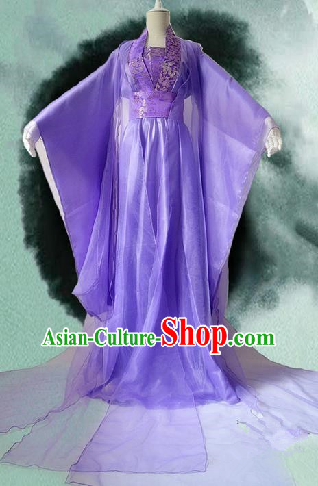 Traditional Chinese Cosplay Female Immortal Costume, Chinese Ancient Hanfu Tang Dynasty Imperial Consort Purple Dress Clothing for Women