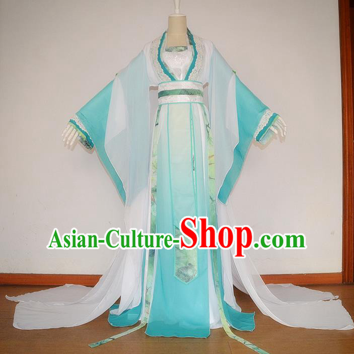 Traditional Chinese Cosplay Nobility Lady Costume, Chinese Ancient Hanfu Tang Dynasty Female Immortal Princess Dress Clothing for Women