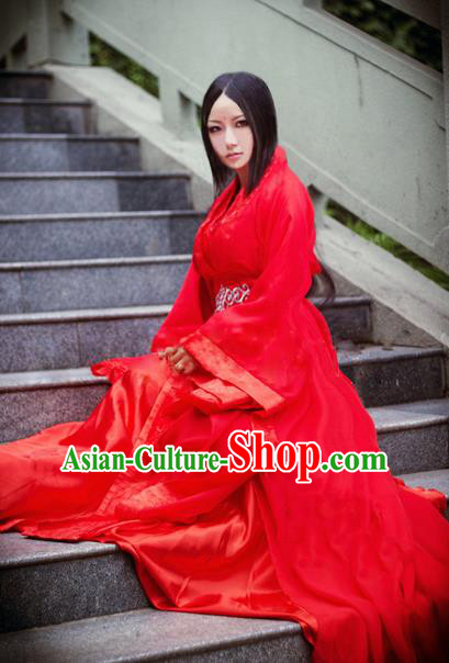 Traditional Chinese Cosplay Imperial Consort Wedding Costume, Chinese Ancient Bride Hanfu Han Dynasty Wedding Red Clothing for Women