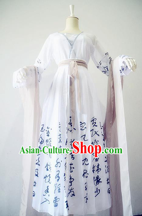 Traditional Chinese Cosplay Nobility Lady Costume, Chinese Ancient Painting Calligraphy Hanfu Tang Dynasty Female Immortal Princess Dress Clothing for Women