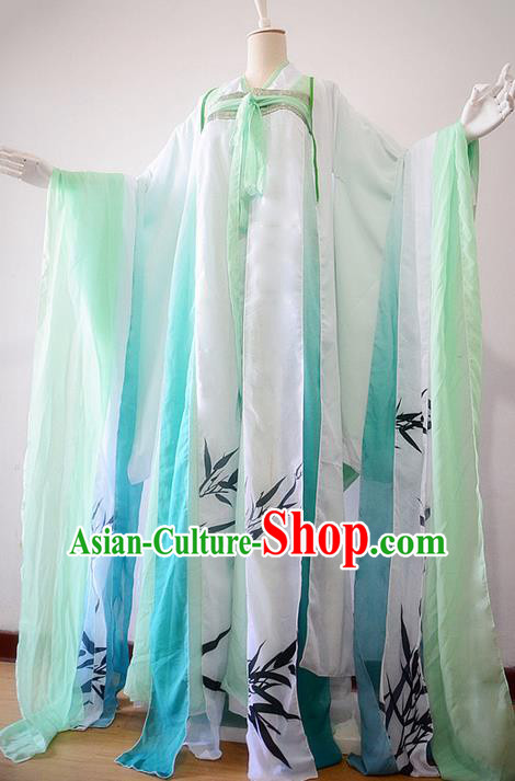 Traditional Chinese Cosplay Nobility Lady Costume, Chinese Ancient Painting Bamboo Hanfu Tang Dynasty Princess Dress Clothing for Women