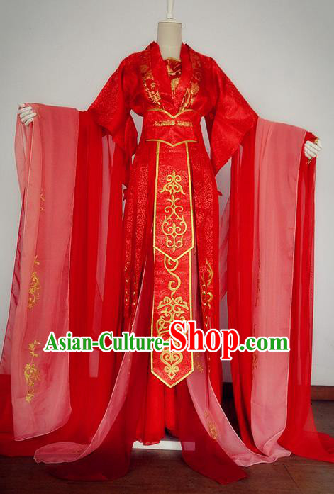 Traditional Chinese Cosplay Imperial Princess Wedding Costume, Chinese Ancient Peri Hanfu Tang Dynasty Bride Red Dress Clothing for Women