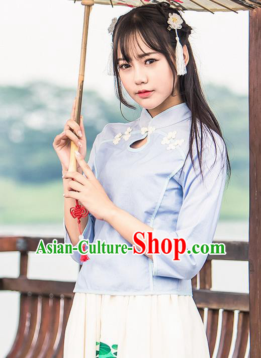 Traditional Chinese Young Lady Costume, Ancient Republic of China Hanfu Cheongsam Blouse for Women