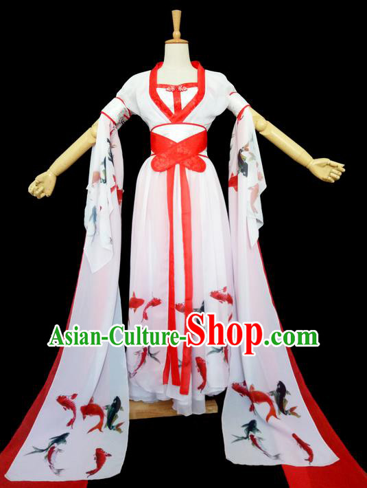 Traditional Chinese Tang Dynasty Imperial Princess Costume, Elegant Hanfu Clothing Blouse and Skirts, Chinese Ancient Young Lady Printing Fancy Carp Dress for Women