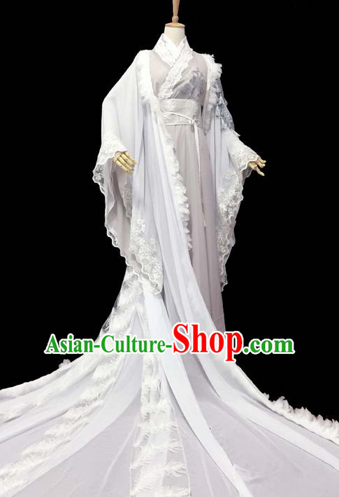 Traditional Chinese Han Dynasty Young Men Embroidery Costume, Elegant Hanfu Clothing Chinese Ancient Prince Trailing Robe for Men