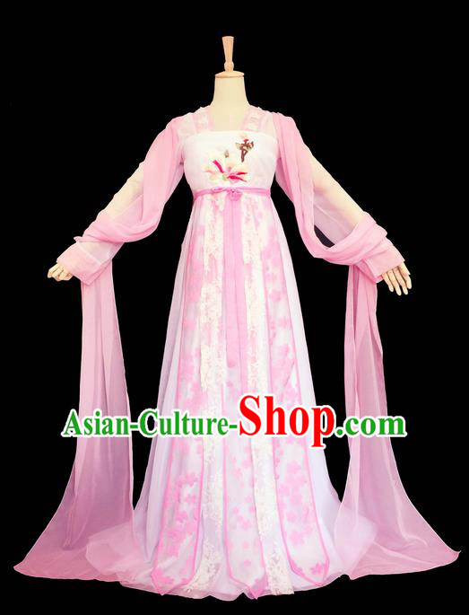 Traditional Chinese Tang Dynasty Imperial Princess Costume, Elegant Hanfu Clothing, Chinese Ancient Young Lady Embroidered Pink Dress for Women
