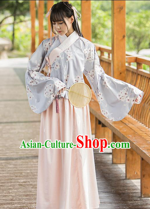 Traditional Chinese Ming Dynasty Young Lady Costume, Elegant Hanfu Clothing Blouse and Skirt, Chinese Ancient Imperial Princess Printing Wintersweet Dress for Women