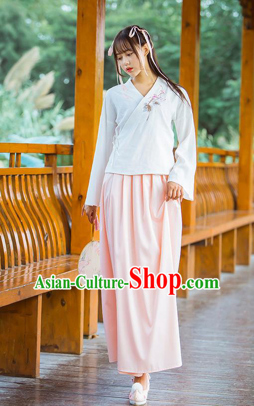 Traditional Chinese Han Dynasty Young Lady Costume, Elegant Hanfu Clothing Embroidered Blouse and Skirt, Chinese Ancient Imperial Princess Linen Slip Dress for Women