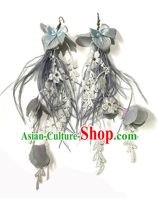 Top Grade Chinese Theatrical Luxury Flowers Earrings, Halloween Fancy Ball Asian Traditional Model Show Grey Feather Eardrop for Women