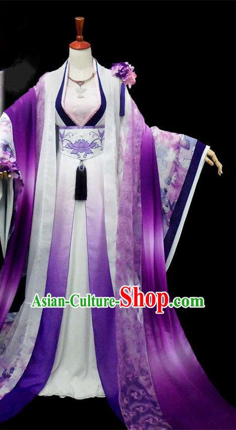 Traditional Ancient Chinese Imperial Concubine Fairy Costume, Chinese Tang Dynasty Imperial Princess Purple Dress Hanfu Embroidered Clothing for Women