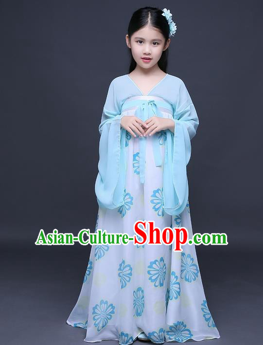 Traditional Ancient Chinese Imperial Princess Fairy Printing Phoenix Costume, Children Elegant Hanfu Clothing Chinese Tang Dynasty Blue Ruqun Dress Clothing for Kids